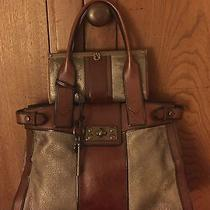 Euc Fossil Vintage Reissue Handbag Metallic Pewter Purse With Wallet Photo