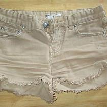 Euc Free People 24 Xs Denim Shorts Pants Distressed Cut Offs Tan Dolphin Hem Photo