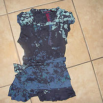 Euc French Connection Girls Black Blue Flute Ruffle Tie Shirt 6x Photo