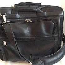 Euc Frye Black Leather Rolling Briefcase Computer Litigation Bag  Photo