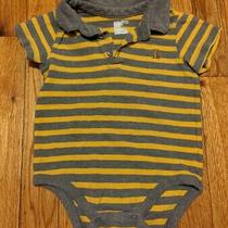 Euc Gap Baby Boys Gray & Yellow Collared S/s Bodysuit Size 12-18 Months Photo