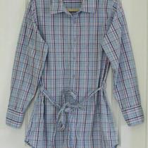 Euc Gap Body Women's Medium Blue/pink Plaid Long Sleeve Long Pajama/lounge Shirt Photo