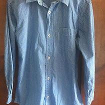 Euc Gap Boys Blue and White Striped Dress Shirt Size 14-16 (Xxl) Photo
