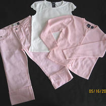 Euc Gap Brand 3 Piece Pink & White Outfit/set Capri Pants/top/sweater Sz Med 7/8 Photo