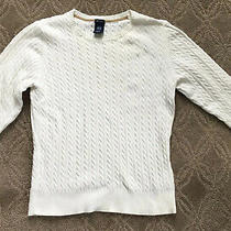 Euc Gap Cable Knit Pullover 3/4 Sleeve Sweater Color White Size Large Petite Photo