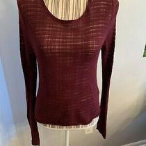 Euc Gap Cranberry Slub Dark Maroon Lacy Sheer Burgundy Sweater Size Medium  Photo
