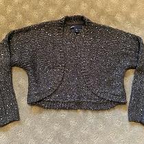 Euc Gap Kids Girls Cardigan Cropped Sweater Charcoal Gray Sparkle Xs 4 5 Photo