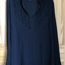 Euc Gap Maternity Black Ruffle Long Sleeve Blouse Top Medium Womens Photo