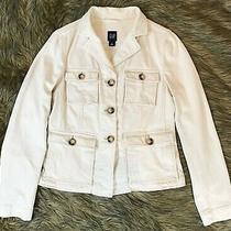 Euc Gap Off-White/ivory Thick Denim Like Jean Jacket/blazer/coat Womens M (6) Photo