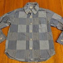 Euc Gap Toddler Boys L/s Button Down Blue & White Checked Shirt Size 5 Years Photo