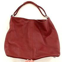 Euc Genuine Red Pebbled Leather Purse - Shoulder Bag With Magnetic Tab - Express Photo