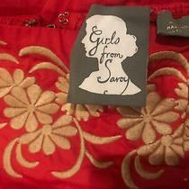 Euc Girls From Savoy Red Orange Strapless Dress Size 2 Floral Anthropologie 168 Photo