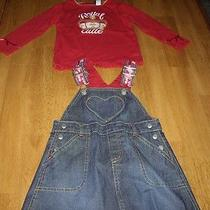 Euc Girls Size 2 Years Baby Gap 2pc Denim Jumper Dress Red Top