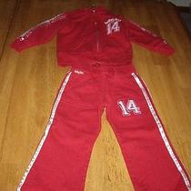 Euc Girls Size 2 Years Baby Gap 2pc Red Sweat Suit Jogging Jacket Pants  Photo
