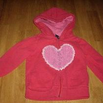 Euc Girls Size 5 Years Baby Gap Red Hooded Sweat Shirt Hoodie Heart Tulle Photo
