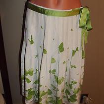 Euc Grace Elements Green / White Floral Silk Skirt Sz 6 Photo