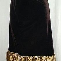 Euc Grace Elements Velvety Brown Skirt With Golden Ruffle Size 8 Photo
