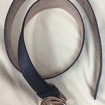 Euc-Gucci Men's Black Guccissima Leather Belt W/ G Buckle 95cm/ 38 Waist Photo