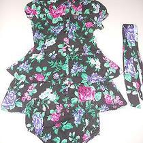 Euc Guess Floral Dress Size 24 Months W/ Diaper Cover Photo