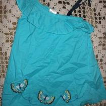 Euc Gymboree Aqua Butterfly Applique One Shoulder Dress  Baby Girls 12 M 18 M Photo