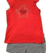Euc Gymboree Shining Star Outfit Red Shirt Top Sz 8 Striped Navy Shorts Size 7-8 Photo