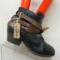 Euc H by Hudson Black Leather Buckle Ankle Fashion Boots Bootie Size 36 Eur Photo