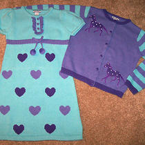Euc Hartstrings Purple/aqua Sweater/dress Set Horse 5/6 Photo