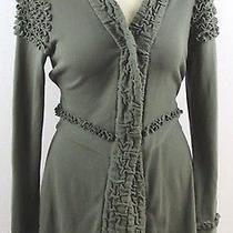 Euc Heather B Boho Ruffled Long  Cardigan Sweater Green Pima Cotton Blend Large Photo