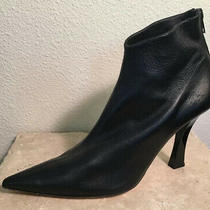 Euc Helmut Lang Pointed Toe Ankle Booties Black Sz 39 Made in Italy Photo