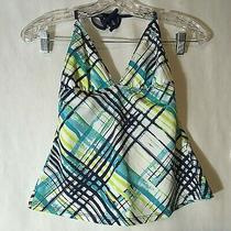 Euc Hurley Plaid Juniors Size Medium Halter Tankini Swimsuit Separate Top H1240 Photo