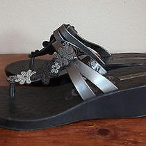 Euc I Panema  Black Grey Metallic Rubber  Sandals Sz 41/42eur  9/10us Photo