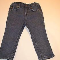 Euc Infant Girls 7 for All Mankind Slimmy Jeans Sz-12 Mths W/interior Adj. Waist Photo