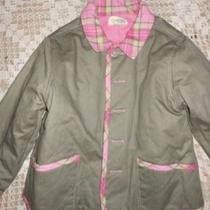 Euc K.c Parker Reversible Taupe Pink Plaid Trim Barn Coat Girl's 10 12 Photo