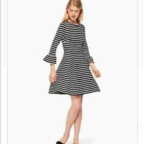 Euc Kate Spade Broome Street Bell Sleeve Striped Ponte Dress Black White - Xxl Photo