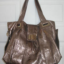Euc Kooba Slouch Hobo Purse Cracked Distressed Leather Metallic Pewter Handbag Photo