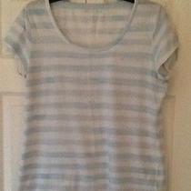 Euc Krisin Davis White & Blue Striped Sz L Tee Shirt T-Shirt Photo