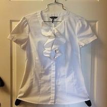 Euc Kristin Davis White Short Sleeve Tailored Button Front Shirt Small / 0815 Photo