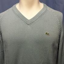 Euc Lacoste Men's Blue v-Neck Long Sleeve Ls Sweater Size 4 - Medium Authentic Photo