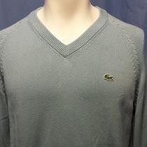 Euc Lacoste Men's Blue v-Neck Long Sleeve Ls Sweater Size 4 - Medium Authentic Photo