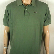 Euc Lacoste Solid Green Polo Shirt Casual Dress Sz 8 Xl Photo