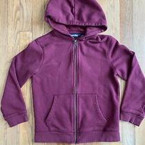 Euc Lands' End Kids Uniform Zip Front Hoodie Sweatshirt Burgundy Size 8 Photo