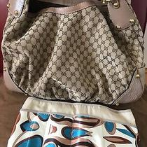 Euc Large Gucci Jockey Hobo Beige Canvas Bag/bonus Organizer Photo