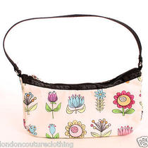 Euc Le Sportsac  Small Canvas Fabric White With Fun Floral Print  Photo