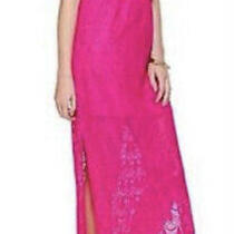 Euc Lilly Pulitzer Emmett Strapless Crochet Hot Pink Maxi Dress Xs Free Shipping Photo