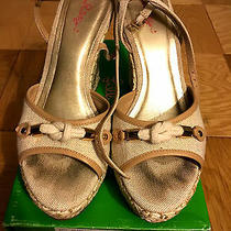 Euc Lilly Pulitzer Just a Little Knotty Natural Sandal Wedge Heel Size 10 Photo