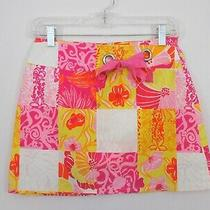 Euc- Lilly Pulitzer Patch-Print Stretch Cotton Skort Hibiscus Multi - Size 2 Photo