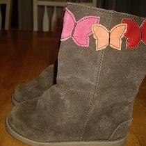 Euc Little Girls Size 11 Gap Brown Suede Boots With Butterflies 7