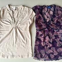 Euc Lot of 2 Mexx h&m Womens Blouses Purple Cream Sz 2 Xs  Rl Polo Bcbg Dvf Photo