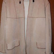 Euc Luxurious Elements Leather Tan Beige Winter Hooded Coat 1x Photo