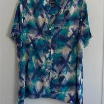 Euc Maggie  Barnes 1x Aqua/navy Print Washable Rayon Short Sleeve  Shirt Photo